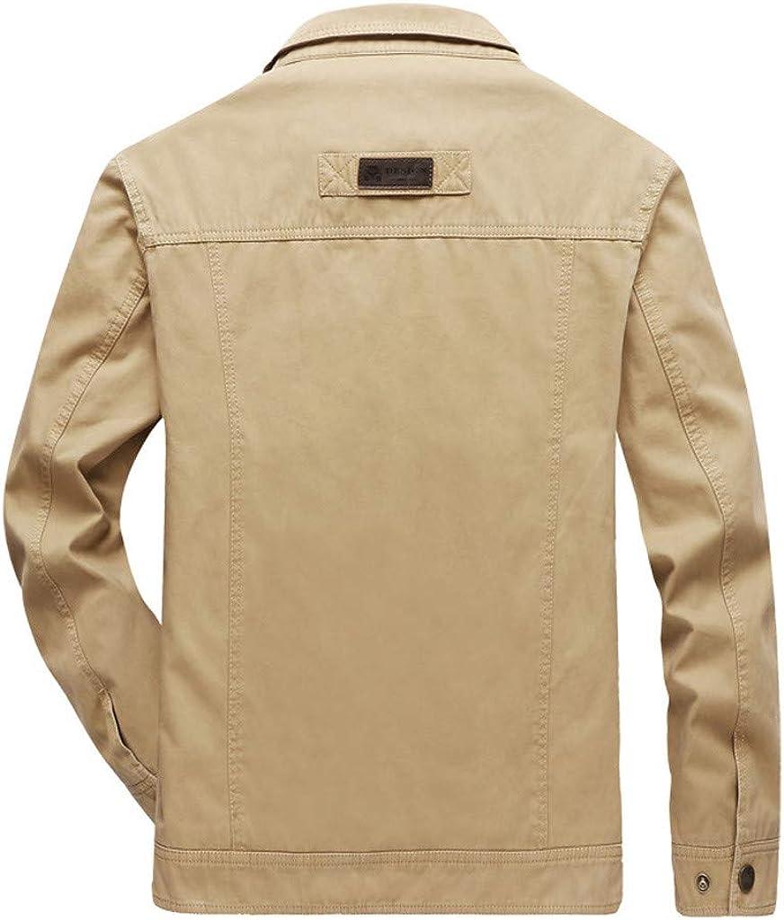 Alvinm Mens Outwear Autumn Casual Fashion Pure Color Patchwork Coat Zipper Outwear Jacket