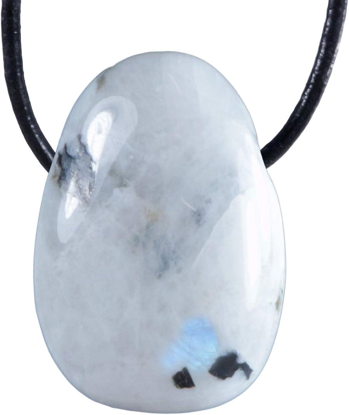 Lebensquelle Plus Arco Iris Piedra de Luna Gota Colgante Trommelstein Perforado con cordón de Cuero