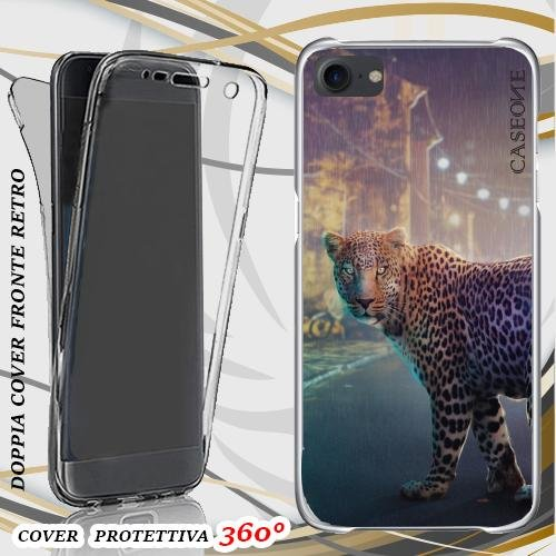 CUSTODIA COVER CASE NIGHT LEOPARD PER IPHONE 7 FRONT BACK