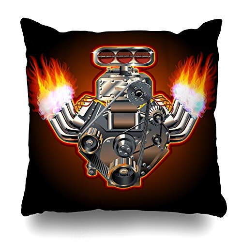 - Ahawoso Throw Pillow Cover Motor Car Turbo Engine Hot Acceleration Rod Flame Exhaust Race Design Home Decor Pillowcase Square Size 16 x 16 Inches Zippered Cushion Case