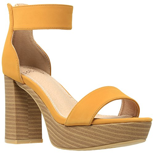 Block Toe Womens Strap Yellow Chunky Shoes Open Ankle SOBEYO Platform Heel Sandals q8wUwS4