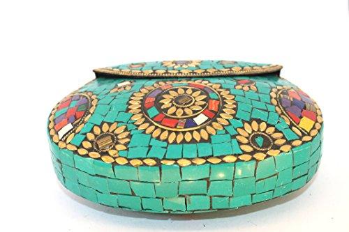 Handmade Vert Türkisgrün pour Pochette femme 7qf7r