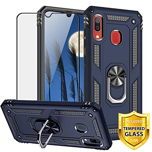 TJS Case Compatible for Samsung Galaxy A20/A30 2019, [Full Coverage Tempered Glass Screen Protector][Impact Resistant][Defender][Metal Ring][Magnetic][Support] Heavy Duty Armor Phone Cover (Blue)
