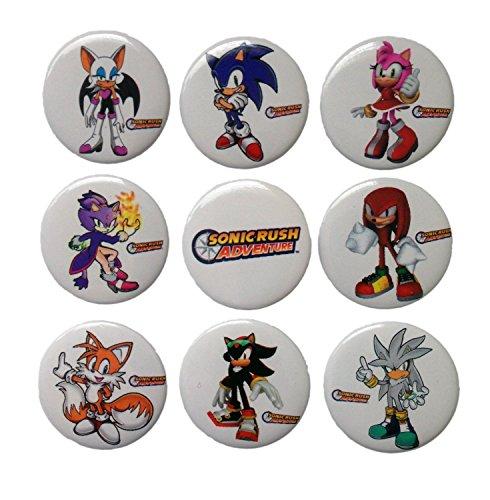 Sonic the Hedgehog Buttons Badges 9 Pcs Set - Plastic Metal Buttons