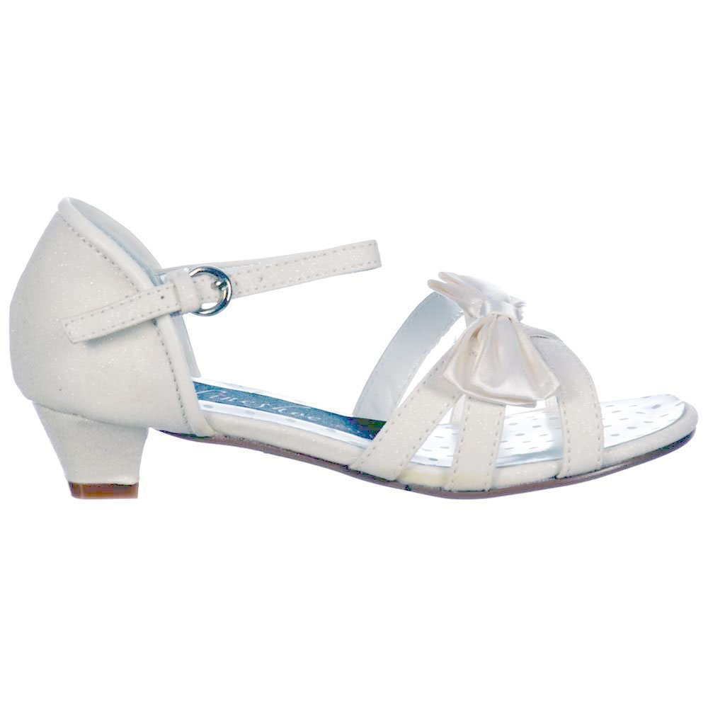 Onlineshoe Girls Wedding Ivory Bridesmaid Wedding Confirmation Ivory Shoes Glitter Satin Bow Shoes Sandals Ivoire df1e39a - automaticcouplings.space