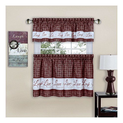 Burgundy Live~Laugh~Love 3 Pc Kitchen Curtain Set - 36in Long