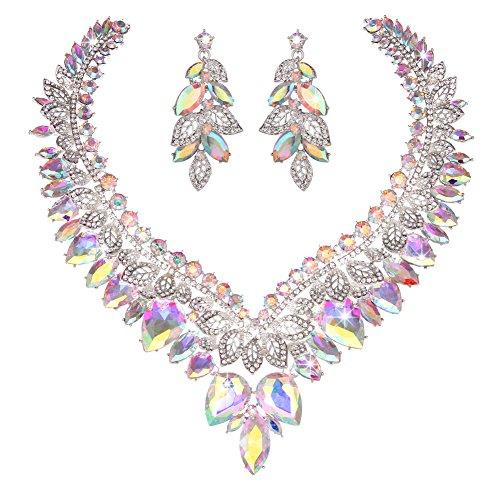 (YOUFIR Bridal Austrian Rhinestone Crystal Leaf Necklace Earrings Jewelry Set Gifts for Wedding Dress (Crystal AB))