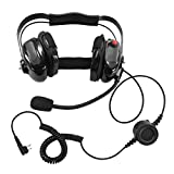BOMMEOW BHDH50-BK-M1A Two Way Radio Noise Isolating Dual Muff Headset for Motorola CP200 CP125 Bearcom BC120 BC95