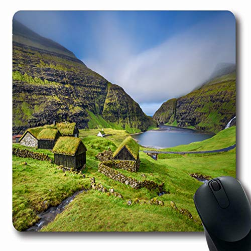 Tobesonne Mousepads Located Green Village Saksun On Island Streymoy Waterfall Faroe Denmark Long Exposure Nature Mountain Oblong Shape 7.9 x 9.5 Inches Non-Slip Gaming Mouse Pad Rubber Oblong Mat ()