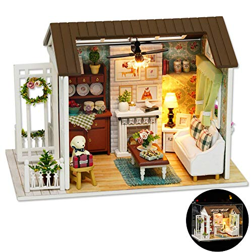 SEAKY DIY Wooden Dollhouse with Miniature Furniture Accessories, 1:24 Scale Miniature Handmade 3D Puzzle Dollhouse Model Kits Gift Collection Decor Toys, with Music Movement Dust Cover (Happy Times)