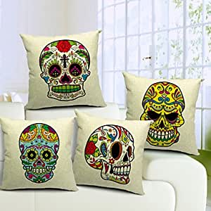 generic-set de 4corlorful esqueleto algodón/lino decorativo funda de almohada