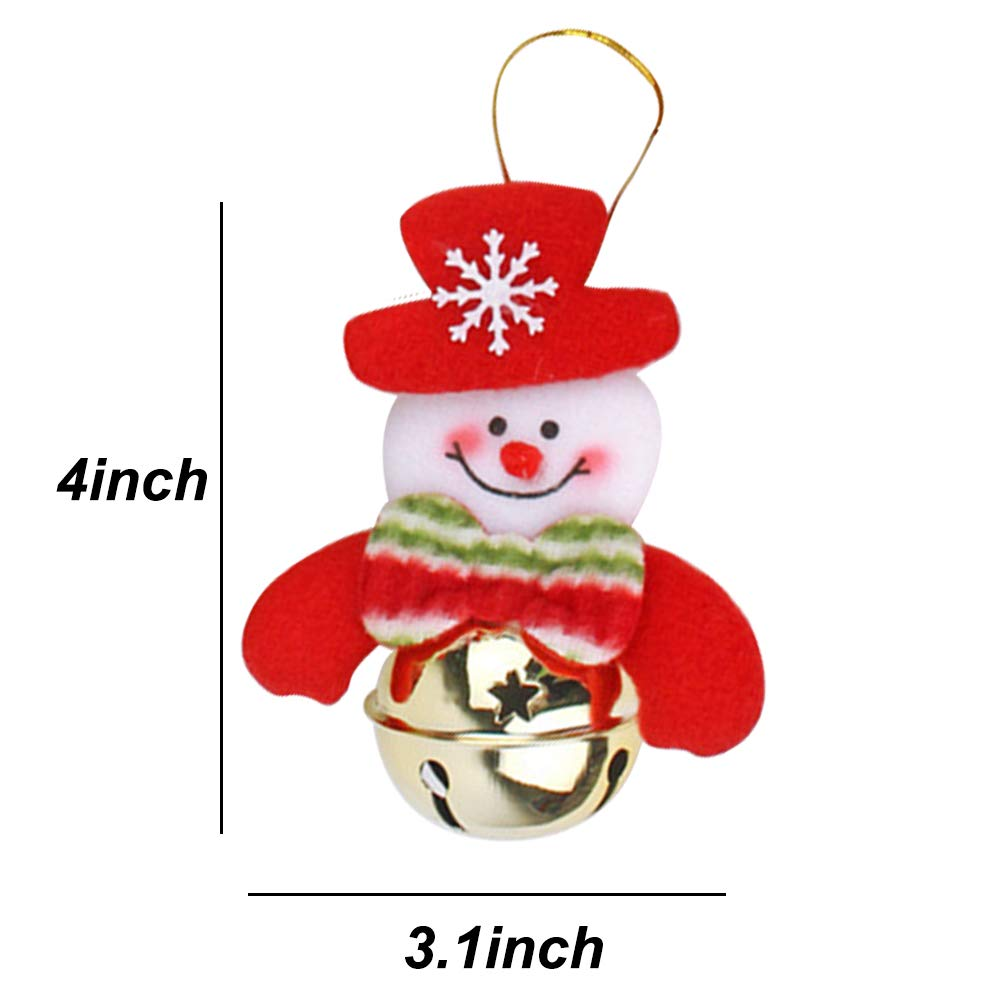 Rongyuxuan 8 Pack Christmas Bells Decorations Ornaments Set,Plush Snowman Santa Claus Polar Bear Elk Hanging Christmas Tree Decoration Pendants for Xmas Home Party Holiday Decorative