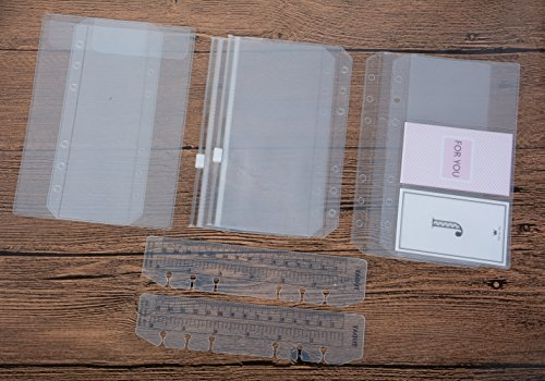 Funcoo 6-Ring Binder Plastic Zipper Pockets/Bill Pouch/3 Pockets Name Card Bag, Set of 6 Binder Planner Notebook Refills + 2 Plastic Page Marker Measuring Ruler for 6-Ring Notebook Binder (A6) (Vinyl Pocket Planner)