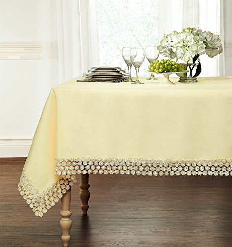Ultra Luxurious Textured Macrame Trim Fabric Tablecloth By G