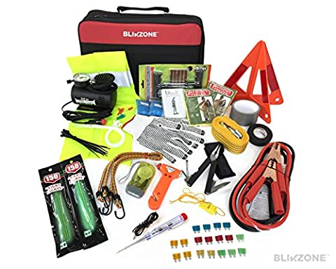 Blikzone 81-Pc Auto Roadside Assistance Emergency Essentials Kit Car, Truck & RV, with Tire Repair Kit • Jumper Cables • Portable Air Compressor • Tow Strap • Emergency Triangle • Safety/Escape (Air Compressor Jumper)