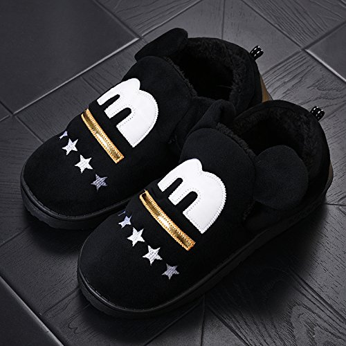 Y-Hui zapatillas de algodón Bolsa con hombres de invierno Home Furnishing zapatos de suela gruesa Interior par M black