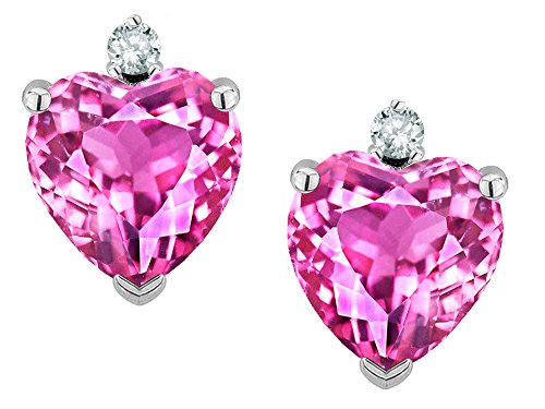 Star K Heart Shape 7mm Created Pink Sapphire Earrings Studs 14 kt White Gold