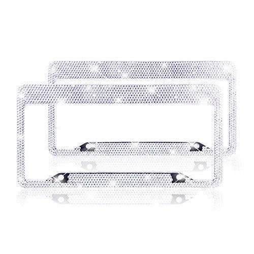 ZATAYE Bling License Plate Frame - 2 Pack Aluminium Alloy Pure Handmade Waterproof Glitter Rhinestones Diamond Crystal License Plate Frames for Women,License Tag with Gift Box