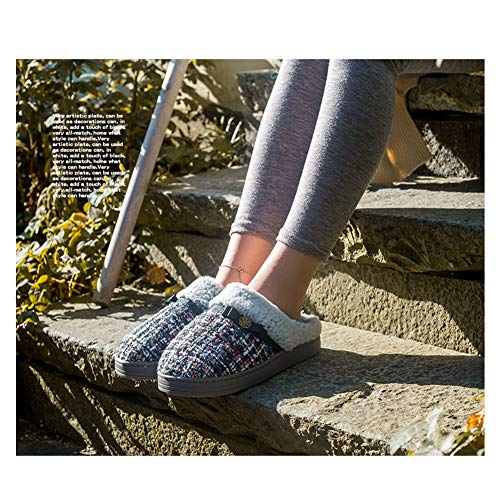 House Mens for Indoor Plush Cotton Use Slippers Skid Outdoor Knitted and Black Womens 508qxw5r
