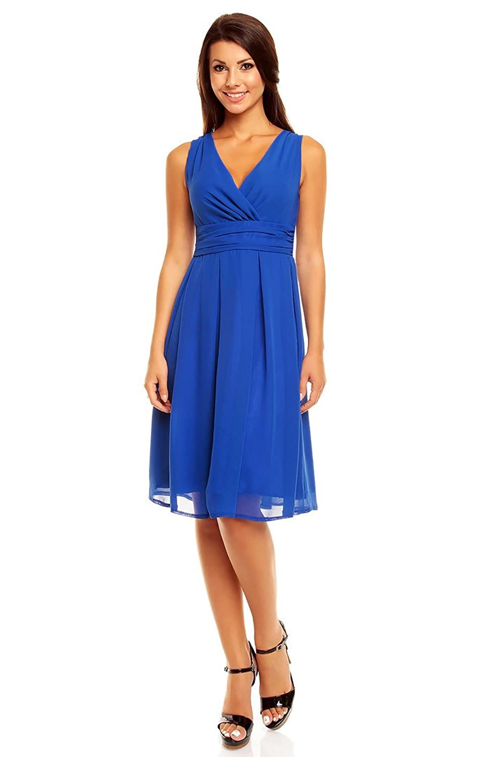 Victoriav Women's Cocktail Plain Dress blue blue