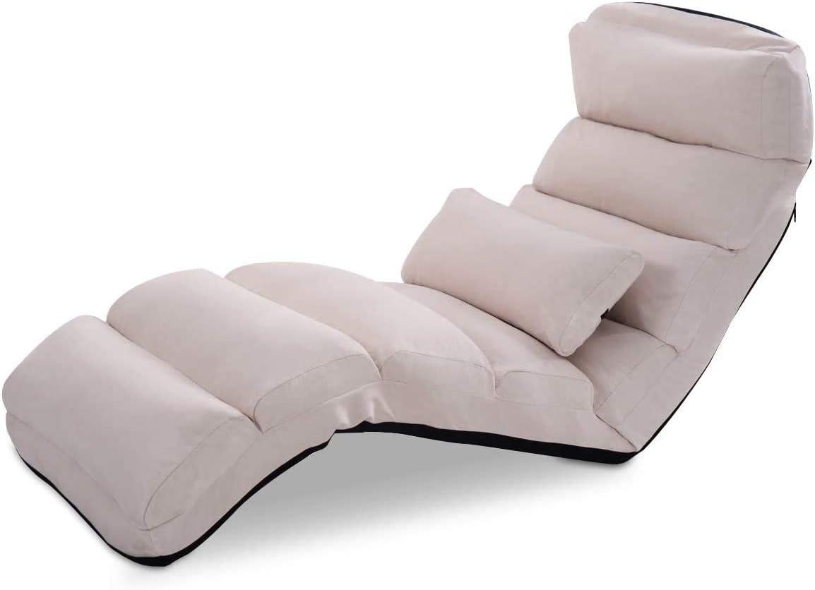 ZQY Silla Plegable Sofá Perezoso Estilo Couch Sofá Camas Tumbona W/Almohada (Color : B)