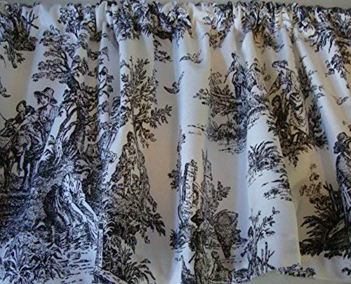 Valance Black and White Toile Fabric Window Treatment Topper 53