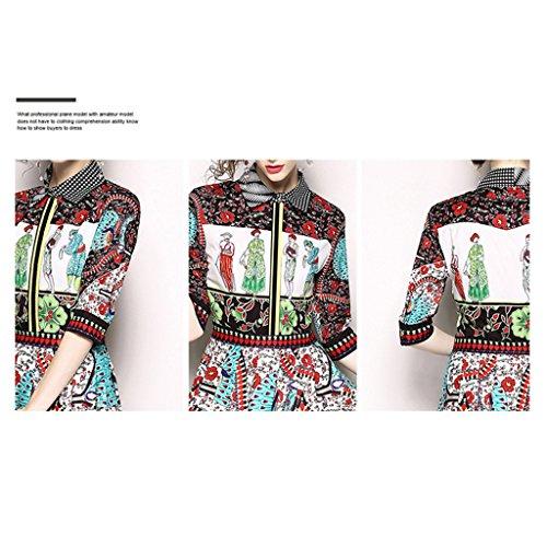 Colletto Slim Vestiti Wang Camicia Allentato Corto Da Estivo Stampato Abito xl Sera M Sexy Vintage dimensioni S S8xq8w