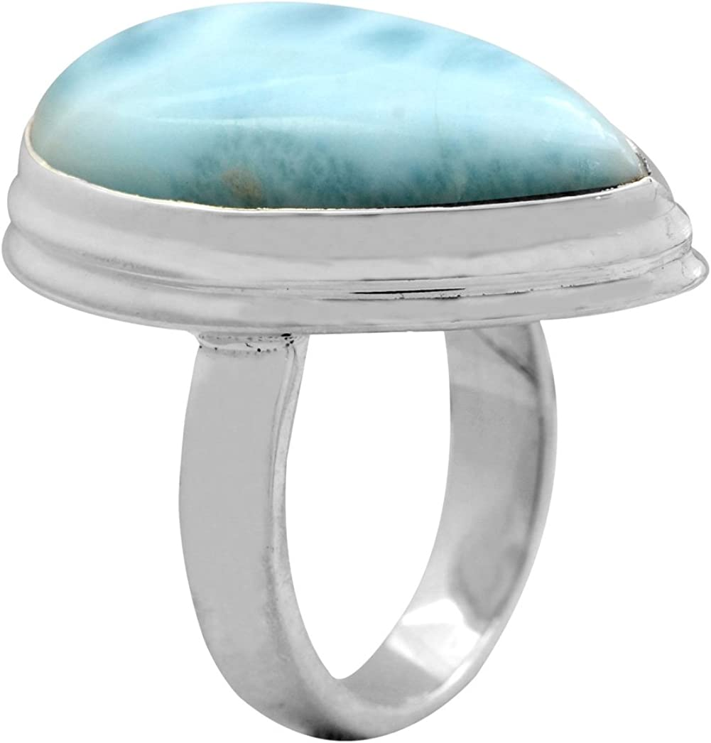 YoTreasure Natural Larimar 925 Sterling Silver Rings Silver Jewelry Size 6.5
