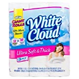 White Cloud Ultra Soft and Thick 3 Ply Bathroom Tissue 12 Giant Rolls=30 Regular Rolls