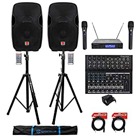(2) Rockville BPA15 15″ 1600w Active PA/DJ Speakers+Mixer+Mic+Stands+Cables+Bag