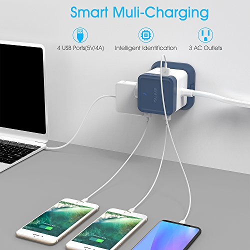 BESTEK USB Power Strip Travel Cube 3-Outlet and 4 USB Charging Station with Mountable Detachable Base, 5 Feet Extension Cord,Flat Plug,1875W,ETL Listed,Dorm Room Accessories by BESTEK (Image #5)