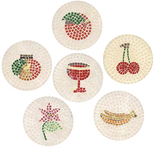 - Mosaic kit 10x10cm, 6 Round Coasters, Nature: Flower and Fruit