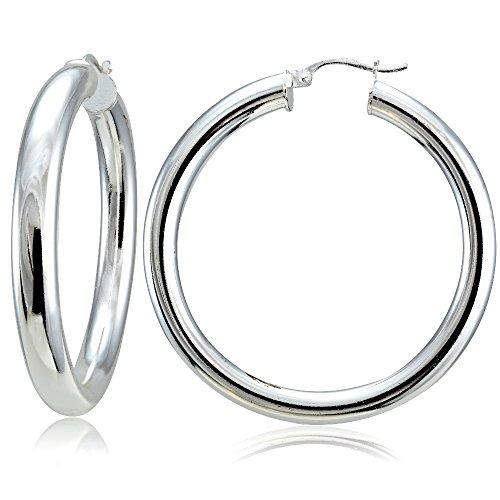 Hoops & Loops Sterling Silver 5mm High Polished Round Hoop Earrings, 40mm