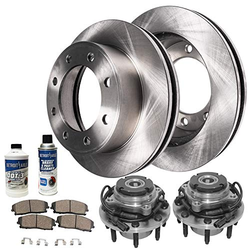 Detroit Axle - Front Wheel Bearing Hub Assembly and Brake Rotor w/Ceramic Pad Kit for 00-02 Ford Excursion - [00-04 F-250/350 Super Duty] - 4WD Coarse Thread Single Rear Wheel SRW Only