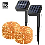 Solar String Lights, 10M 100 LED Waterproof Firefly Lights, Bendable Copper Wire Lights Great Ornament for Outdoors use in Patio,Garden, Valentine's Day, Wedding, Christmas Party decorations (Set of 2)