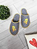 Tweety Grey Felt House Slippers Handmade Soft Shoes