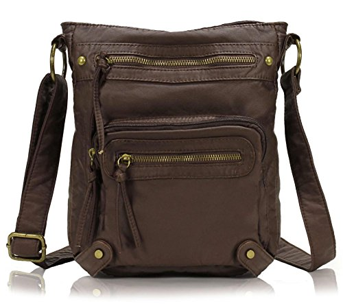 Scarleton Washed Multi Pocket Crossbody Bag H169321 - Coffee
