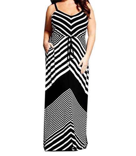 Abetteric Women's Stripe Hipster Fairy Slip Plus Size Maxi Beach Dress Black XL (Plus Size Fairy Dress)