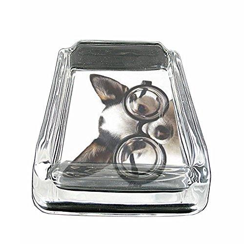 Funny Cute Puppy Dog S10 Glass Square Ashtray 4