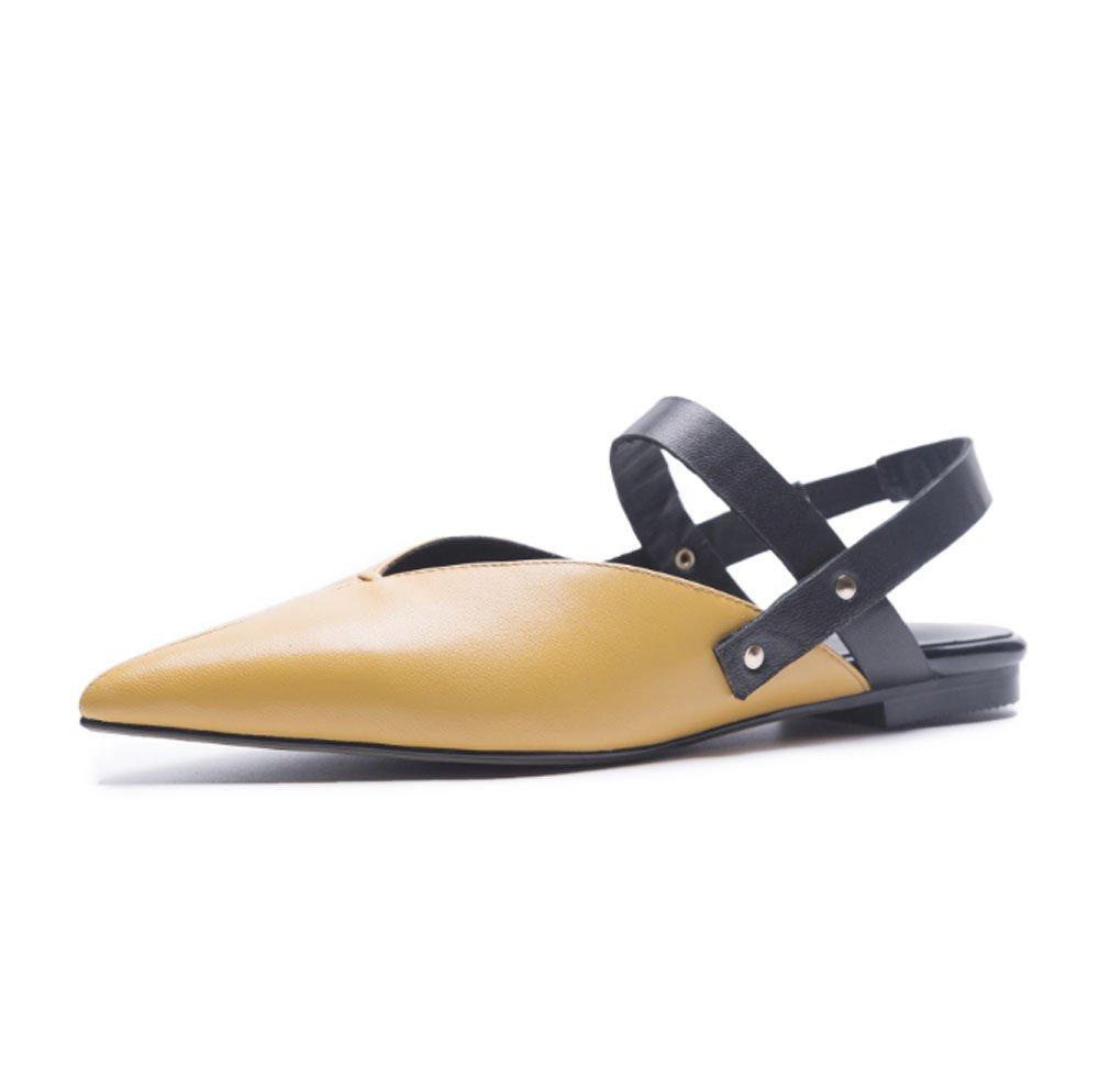 Koreanische Version von Sommer echtem Schaffell nach dem Mischen mit einem buchstabefarbenen Sandalen lässig flachen Boden dick mit spitzen Damenschuhe Mode Schuhe ( Farbe   Gelb  größe   34 )