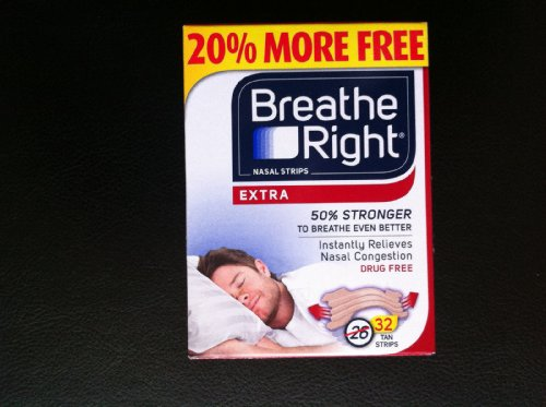 (160 Strips) Breathe Right Nasal Strips EXTRA Tan - 32 Count (5 Pack) by Breathe Right