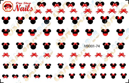 Minnie Mouse Bow Nail Art Decals. Tattoo Nail Decal Set of MB001-74 by One Stop -