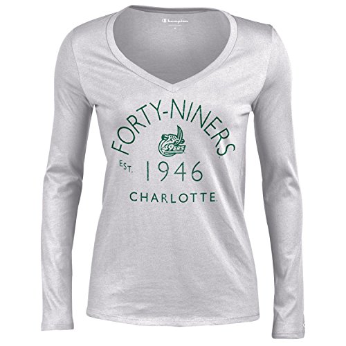 Unc Charlotte Football Team - NCAA North Carolina Charlotte 49Ers Women's University Long Sleeve V-Neck Gray T-Shirtuniversity Tee, Oxford Heather, Small