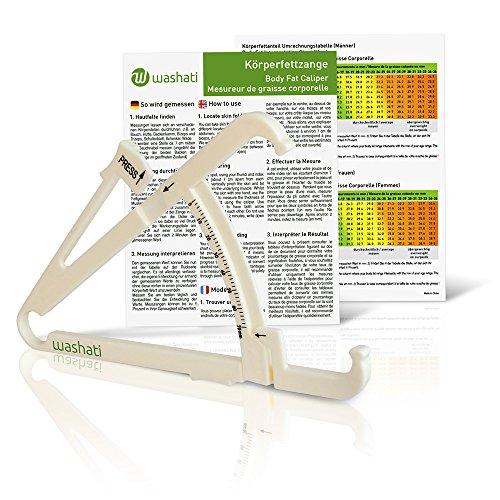 Washati Fettmesszange - Körperfettmessgerät zur Messung der Hautfaltendicke und Umrechnung in Körperfettanteil (mit Anleitung und Umrechnungstabelle)