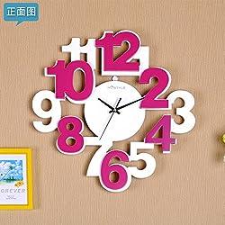 ASIBG Home Mute stereo digital creative modern wall clock the living room wall charts bedroom clock wooden fashion watches,20 inch,Mei Bai