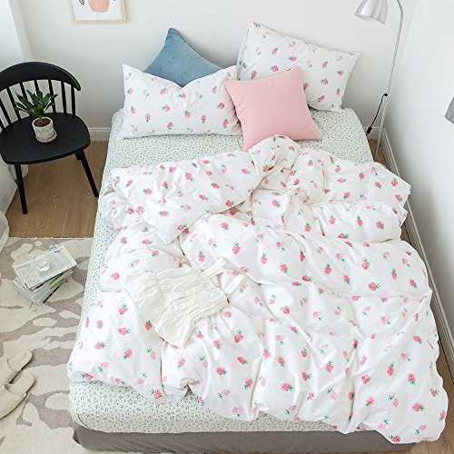 Girls Duvet Cover Set Queen Size with Pink Strawberry Patter