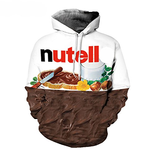 Letters-from-Iceland Realistic 3D Digital Print Pullover Hoodie Hooded Sweatshirt Nutella,BlackSurf,S
