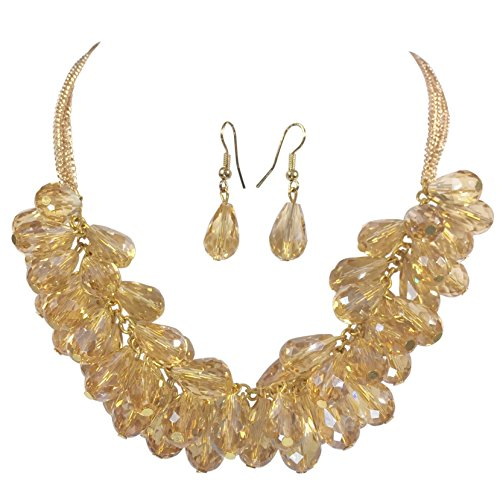 Glass Teardrop Cluster Beads Chunky Statement Necklace & Dangle Earrings Set (Topaz Gold Tone)