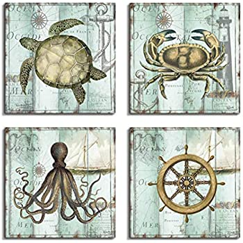 Vintage Rustic Nautical Beach Decor Anchor/Steering Wheel/Turtle Wall Art Ocean Decor Pictures For Bathroom Decorations - 4 Panel Canvas Painting Framed Artwork For Living room Office Bedroom Decor