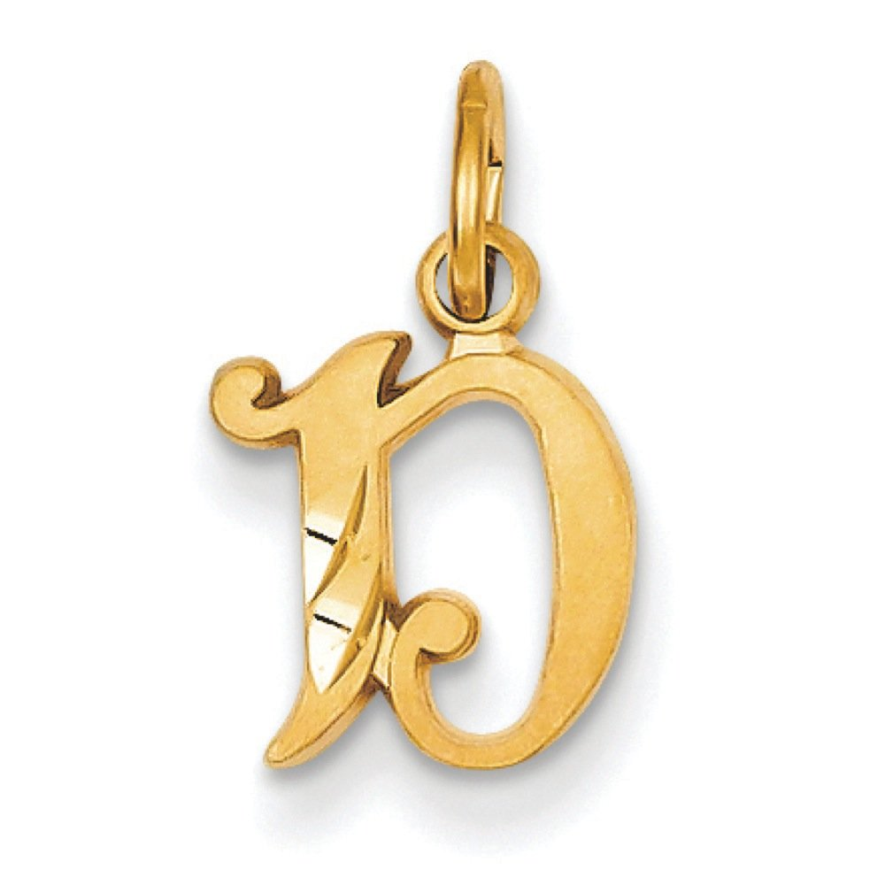 14K Yellow Gold Old English Initial D Charm Pendant